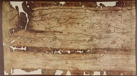 Een fragment van de Peutingerkaart  uit de 13e eeuw