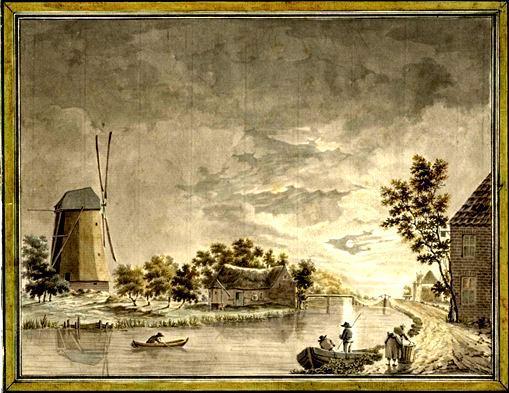 De Korenmolen aan de Harmelerwaard omstreeks 1740