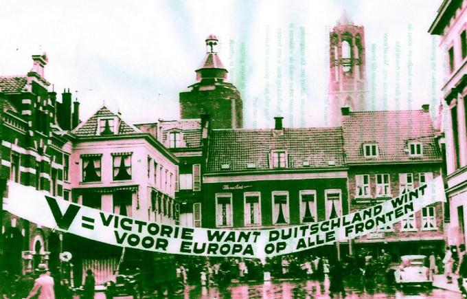 De Mariaplaats te Utrecht met het bewuste spandoek
