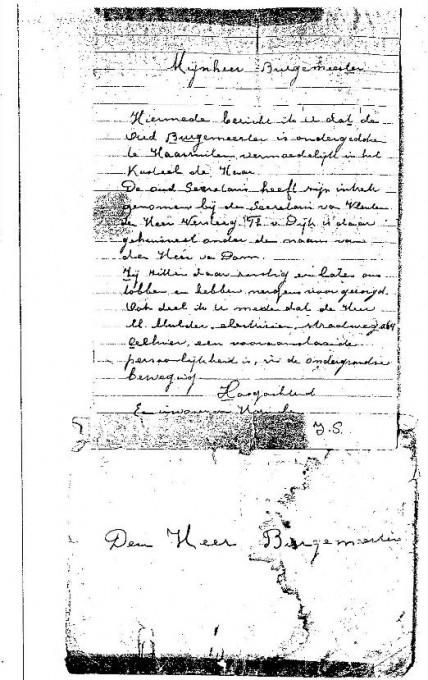 De brief aan de NSB-burgemeester